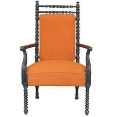 French Napoleon III Ebonized Armchair
