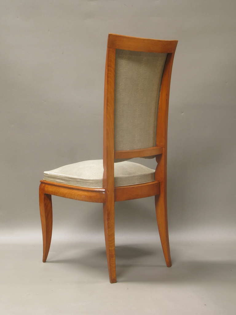 French Set of Eight Dining Chairs Attributed to René Prou, France, 1940s For Sale