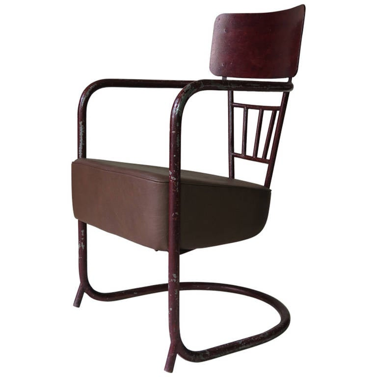 Unusual Bauhaus Tubular Metal Chair, France, 1930s