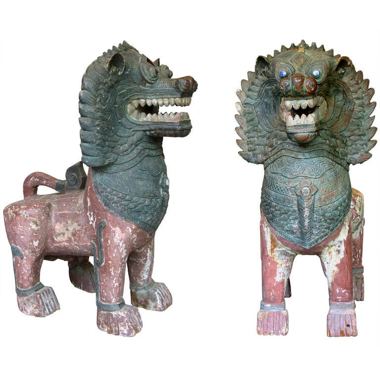 Impressive Pair of Temple Guardian Lions, Burma, circa 18th Century