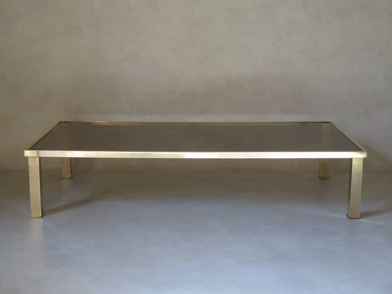 Mid-Century Modern Large Rectangular Brass and Glass Coffee Table, France 1970s For Sale