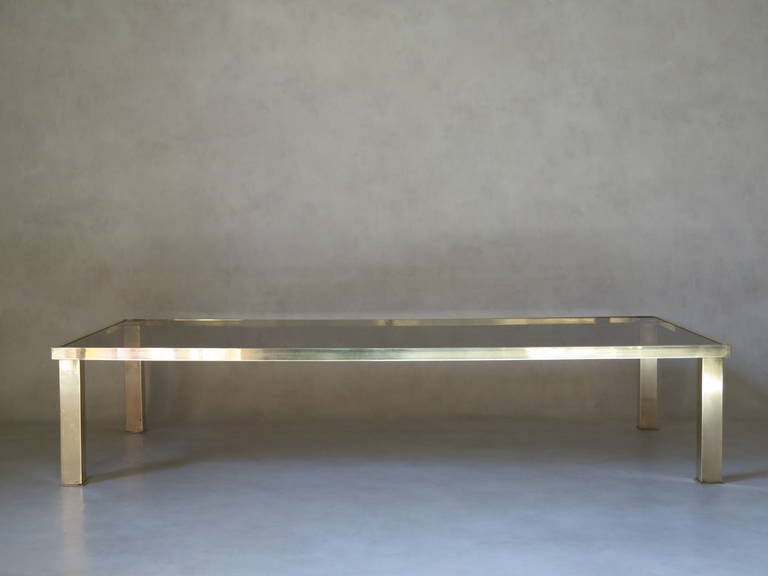 French Large Rectangular Brass and Glass Coffee Table, France 1970s For Sale