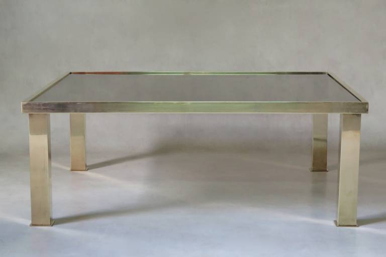 French Square Brass and Glass Coffee Table, France 1970s For Sale