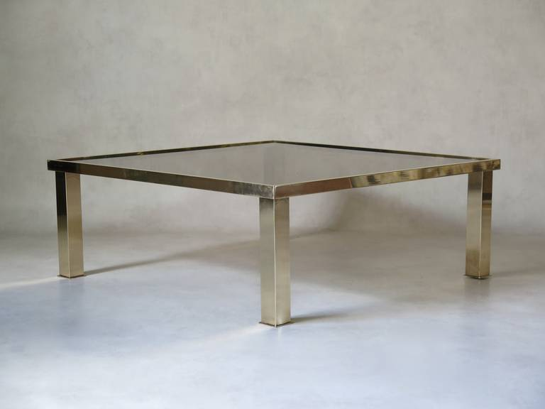 Mid-Century Modern Square Brass and Glass Coffee Table, France 1970s For Sale