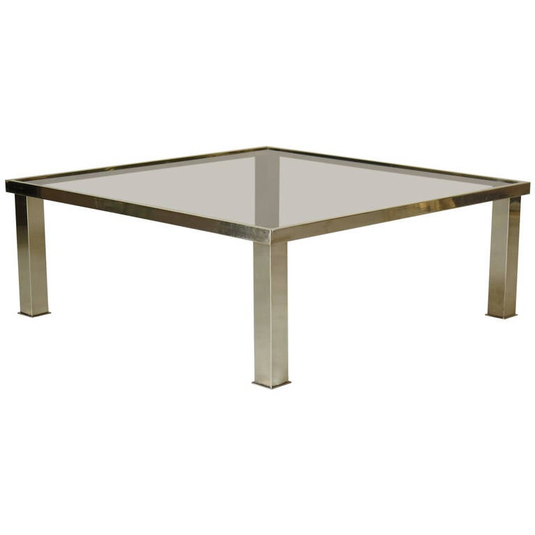 Square Brass and Glass Coffee Table, France 1970s