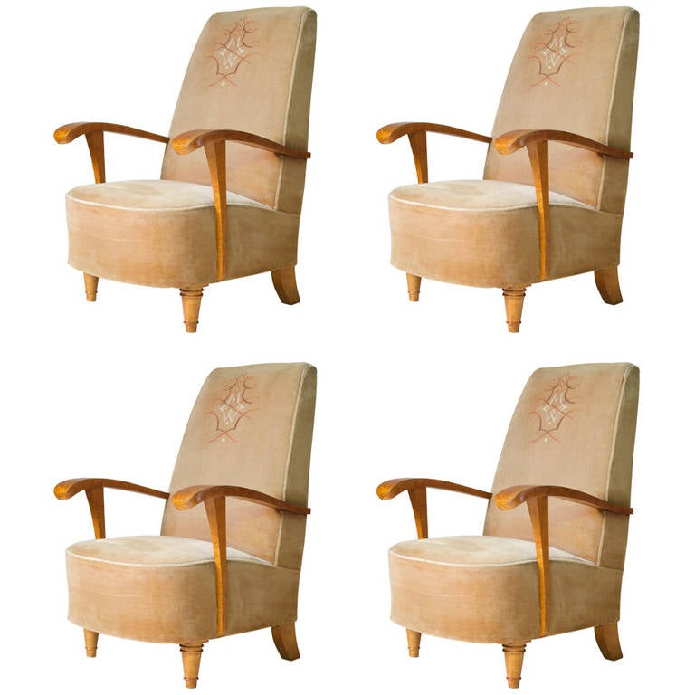 Set of Four Art Deco Armchairs, France, 1920s-1930s For Sale