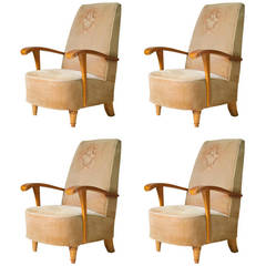 Set of Four Art Deco Armchairs, France, 1920s-1930s