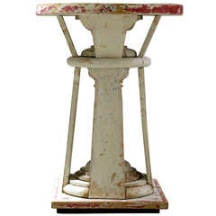Polychrome Wooden Stand/Pedestal - France, 19th C
