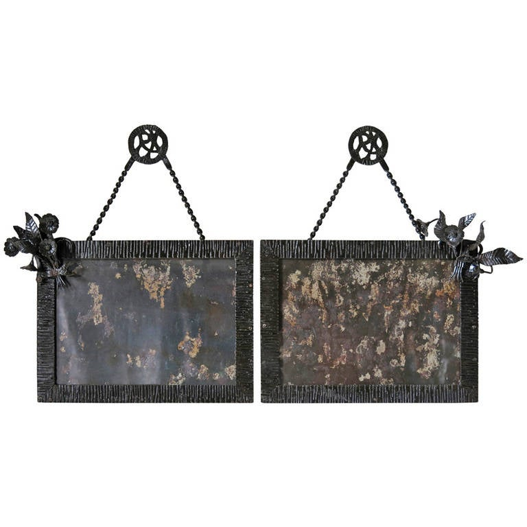pair of art deco wrought iron frames france circa 1930s 1 - Wrought Iron Picture Frames
