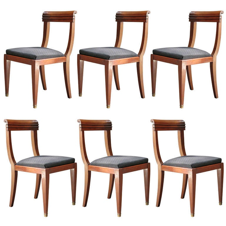 Set of six mahogany dining chairs france 1950s at 1stdibs for Mahogany dining room furniture