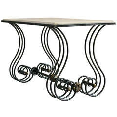 Unusual Wrought Iron & Marble Coffee Table - France, 1940s