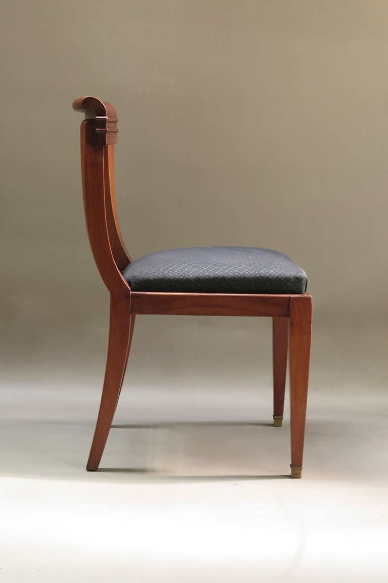 Set Of Six Mahogany Dining Chairs France 1950s For Sale