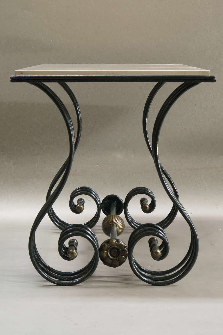 Art deco unusual wrought iron marble coffee table france 1940s for sale