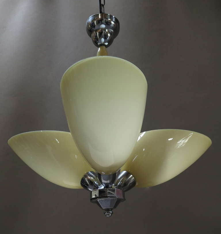 French Opaline & Chrome Light Fixture - France, Mid-Century For Sale