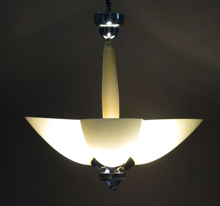 Mid-Century Modern Opaline & Chrome Light Fixture - France, Mid-Century For Sale