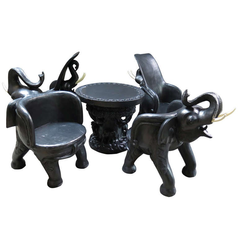 Fun five piece elephant living room set at 1stdibs for Fun living room chairs