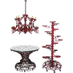 "Unique Wrought Iron Set ""Table, Chandelier & Plant Stand"" France or Italy, 1950s"