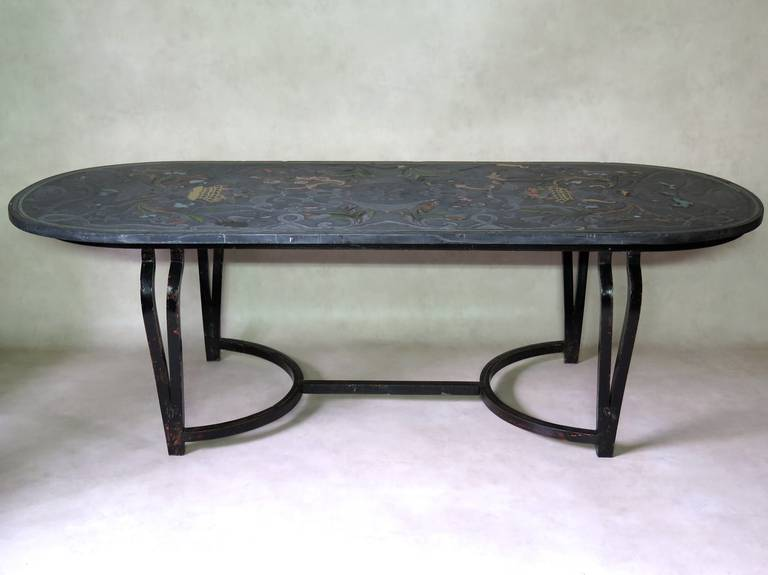 Italian Scagliola Slate Top And Wrought Iron Table, Sicily, 19th Century  For Sale