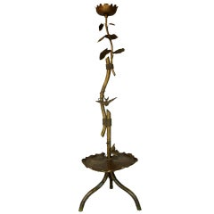 19th C. Gilt Metal Lotus Flower and Bird Floor Lamp