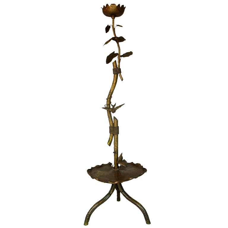 19th C. Gilt Metal Lotus Flower and Bird Floor Lamp For Sale at ...