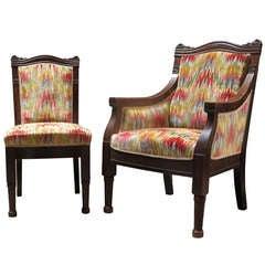 Four-Piece Living-Room Set Upholstered in Velvet Ikat, 19th Century