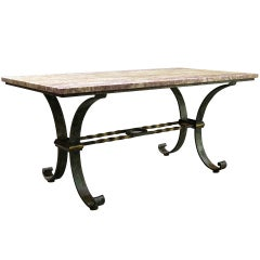 Exceptional 1940s French Wrought Iron and Marble Table