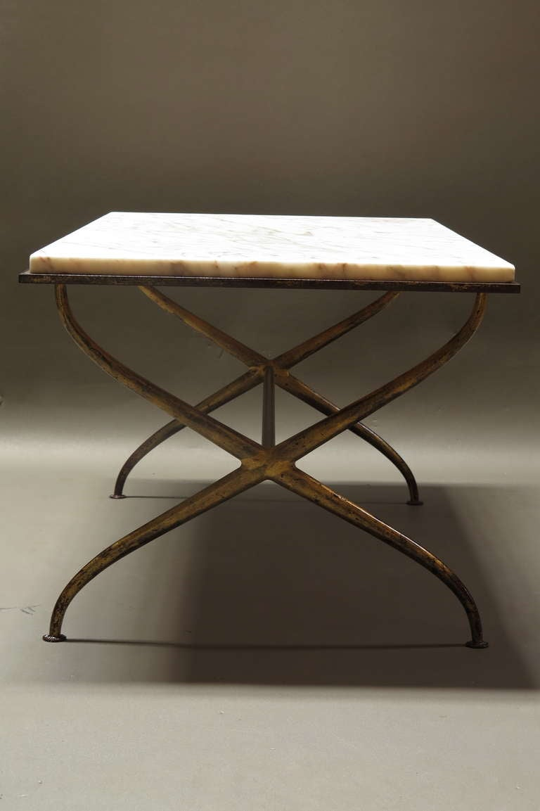 Gilt iron and marble coffee table france 1940s at 1stdibs for Stone and iron coffee table