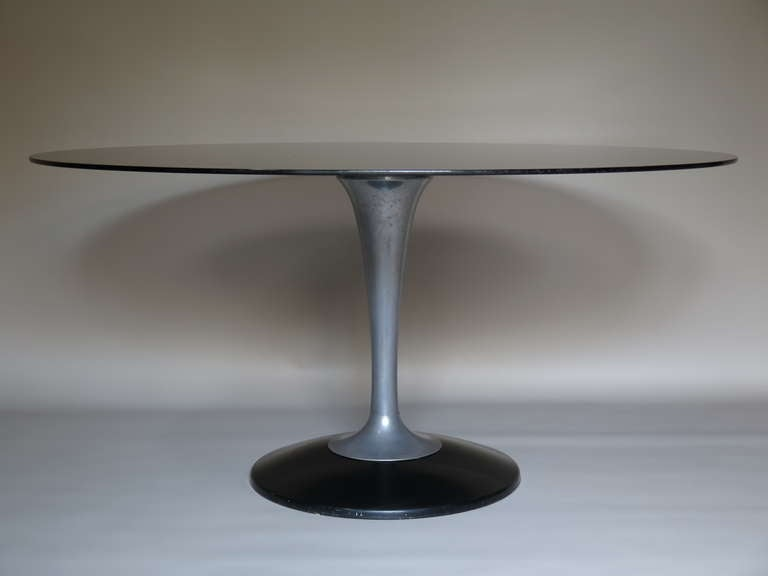 Mid-Century Modern Chrome and Glass Oval Dining Table, France 1950-1960 For Sale
