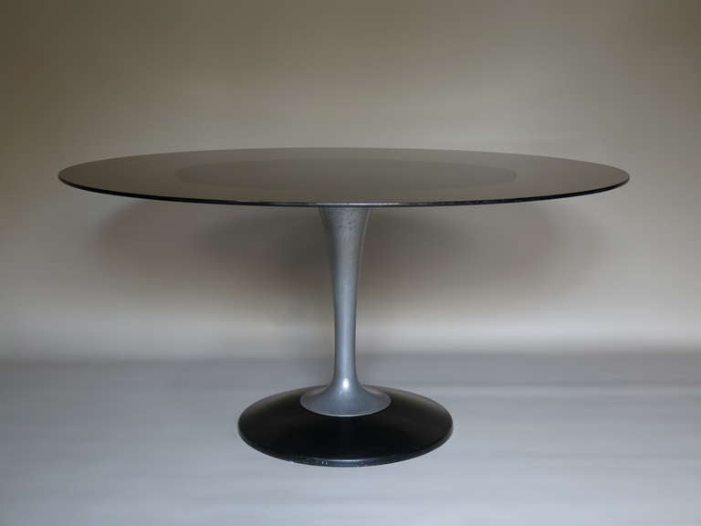French Chrome and Glass Oval Dining Table, France 1950-1960 For Sale
