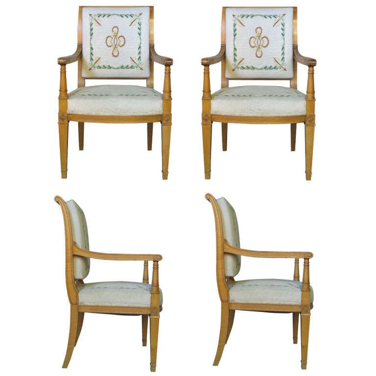 Four Directoire Style Armchairs with Tapestry, France, circa 1940s