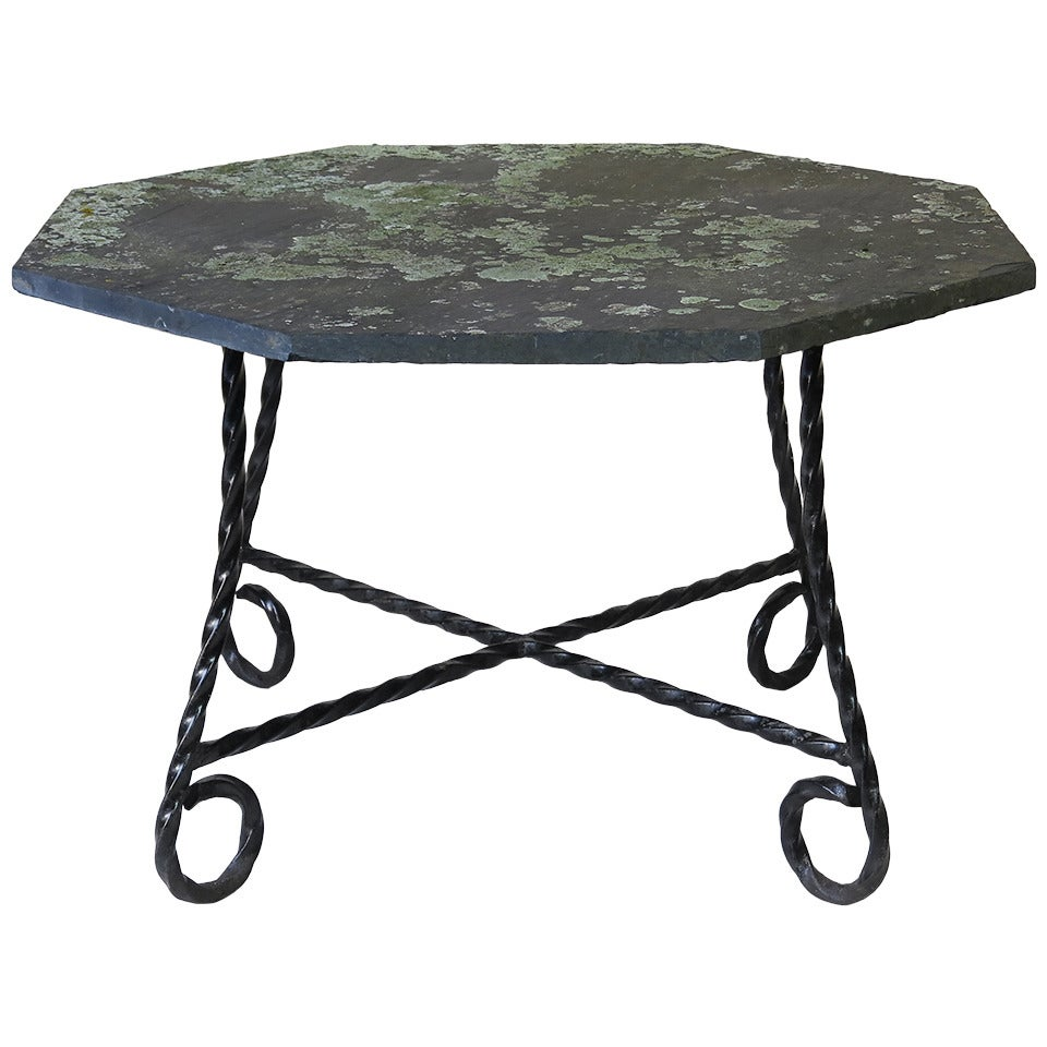 Octogonal Wrought Iron and Slate Top Dining Table, France 1950s at ...