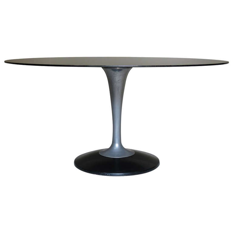Chrome and Glass Oval Dining Table, France 1950-1960 For Sale