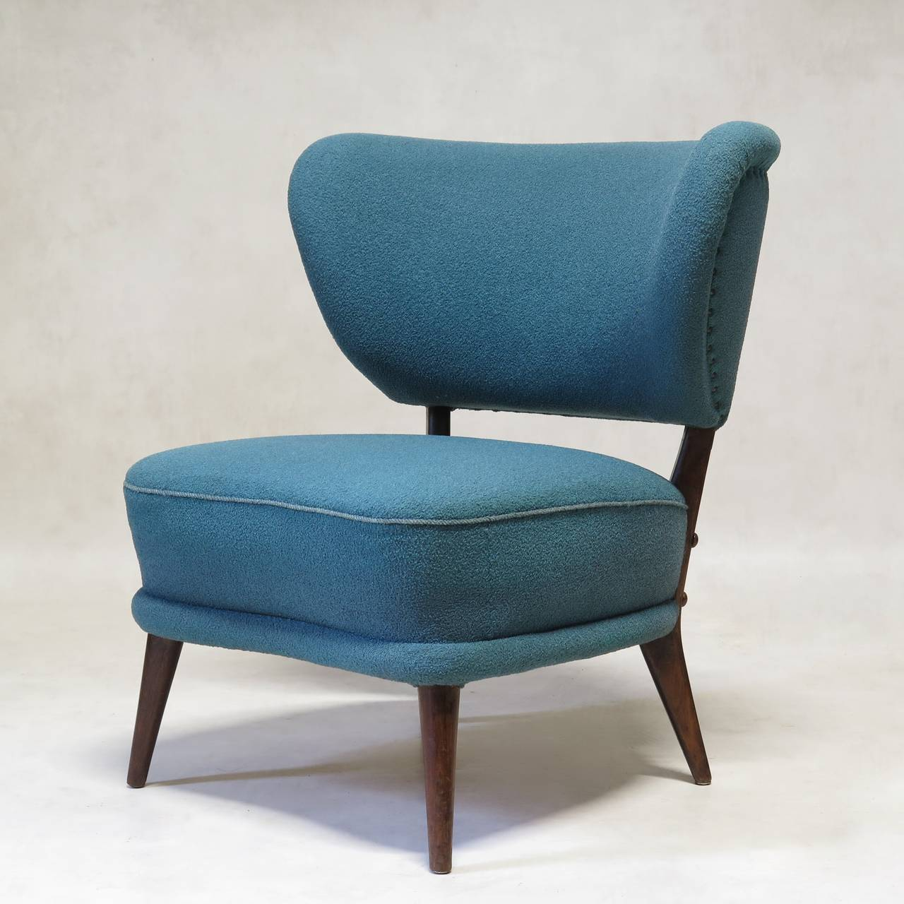 Pair of Mid-Century Modern Wingback Slipper Chairs For ...