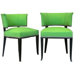 Set of Two Art Deco Barrel-Back Upholstered Chairs