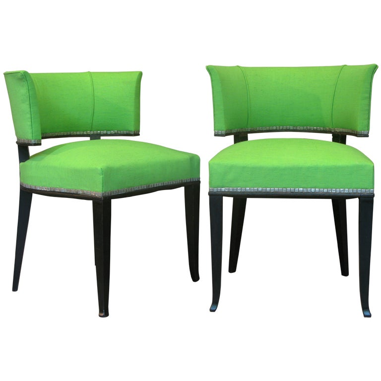 Set of two art deco barrel back upholstered chairs