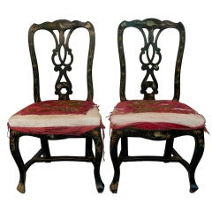 Pair of Hand-Painted Napoleon III Chairs - France, 1880s