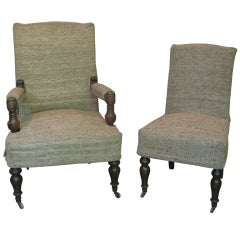 19th Century Matching Chair and Armchair