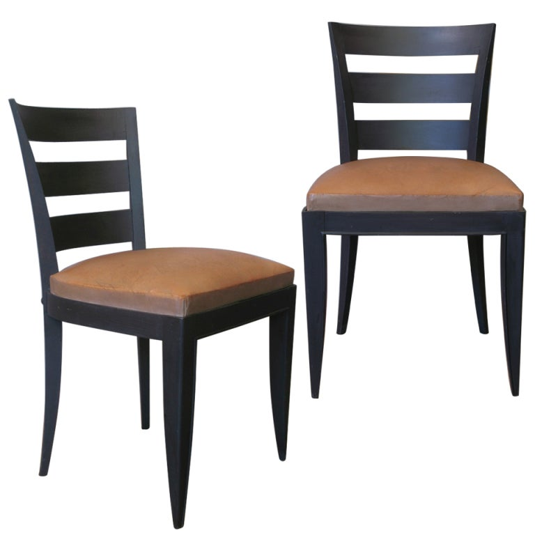 Six French Art Deco Dining Chairs with Leather Seats