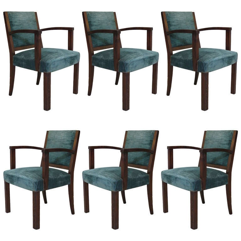 Set of Six Art Deco Armchairs, France, 1930s