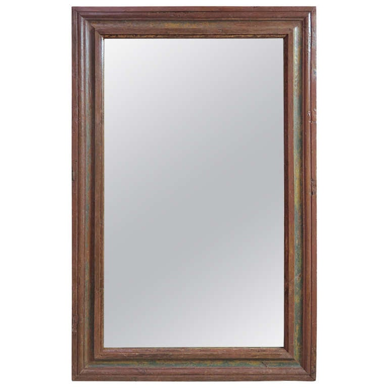 Large 18th Century French Polychrome Oak Mirror