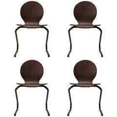 Four Mid-Century Plywood and Metal Cantilever Spring Chairs