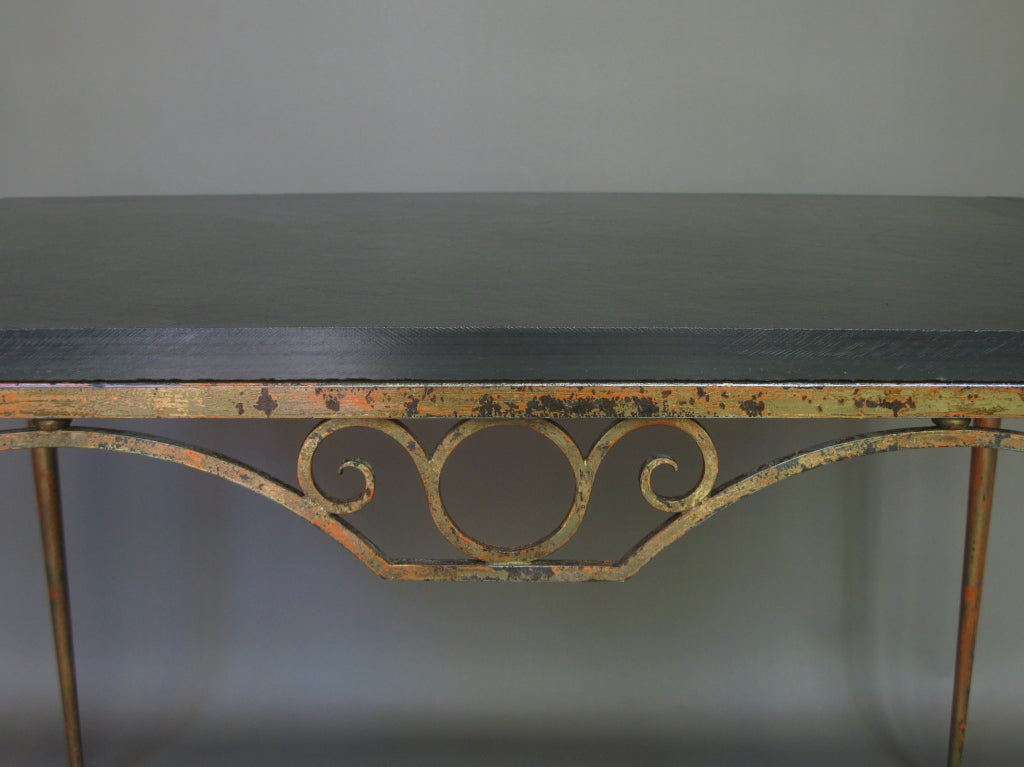 Wrought Iron And Slate Table At 1stdibs