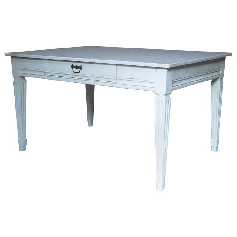 Classic Painted Table With Marble Top - France, 18th Century