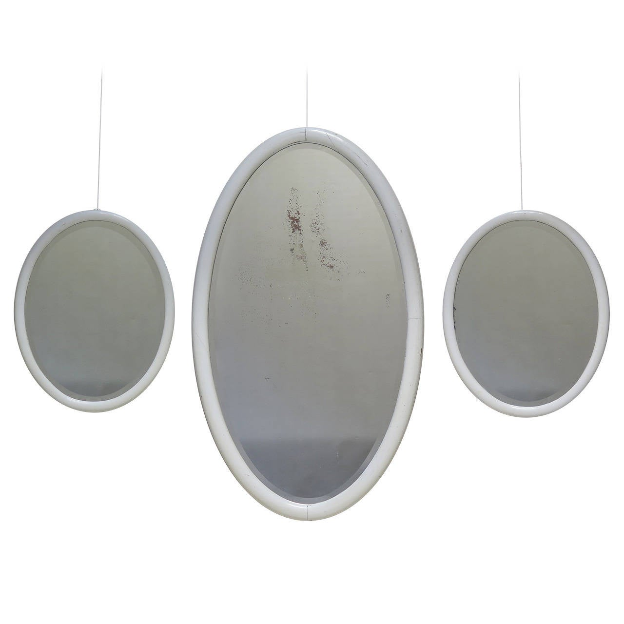 Set of Two Small and One Large Oval Mirrors, France, 1930s