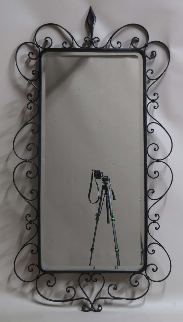 Large Beveled Mirror In A Wrought Iron Frame France