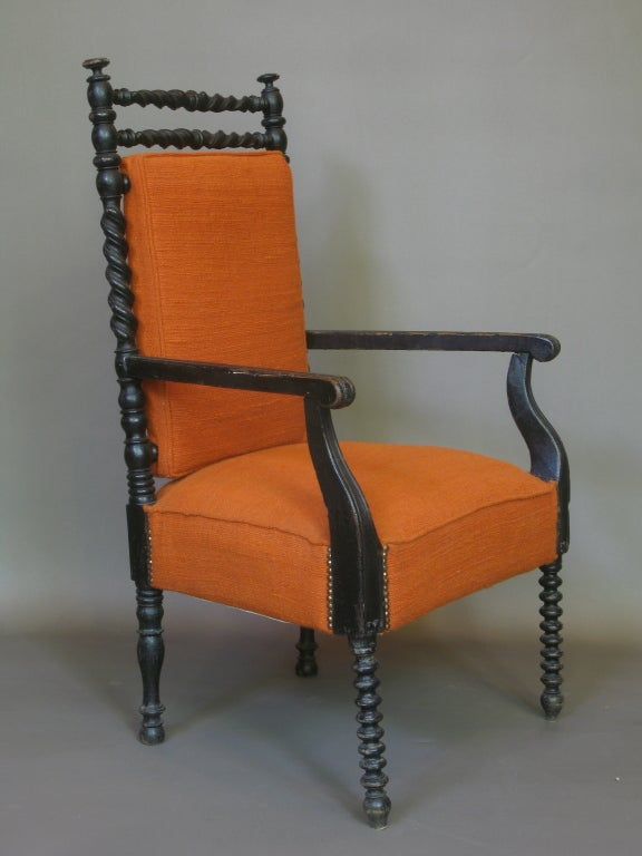 Beautifully crafted armchair with barley twist detailing.
