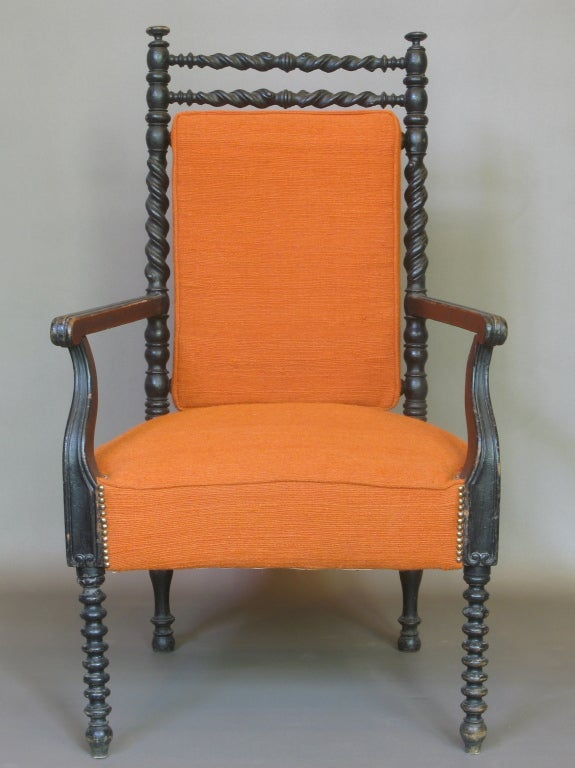 19th Century French Napoleon III Ebonized Armchair For Sale