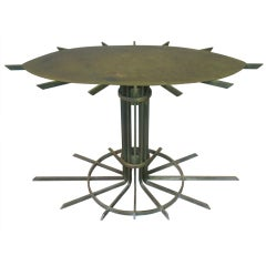 Unusual Almond Shaped Iron Table with Glass Top