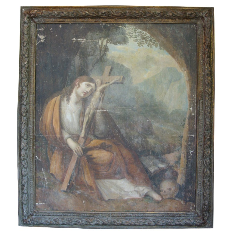 Large Antique Religious Framed Oil Painting on Canvas