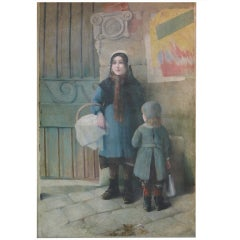 Large-Scale Oil on Canvas Painting of a Street Scene Featuring Two Young Girls